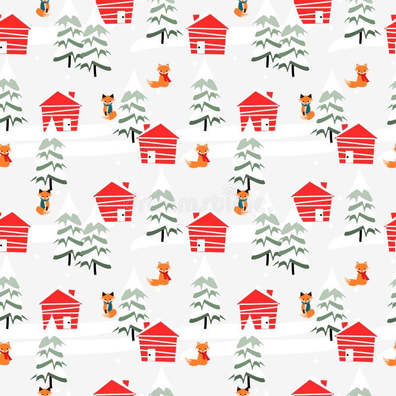 Village dans le modèle sans couture de saison de Noël illustration stock