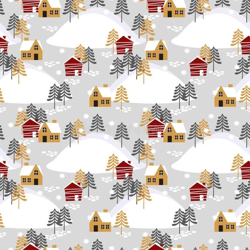 Village dans le modèle sans couture de saison de Noël illustration de vecteur