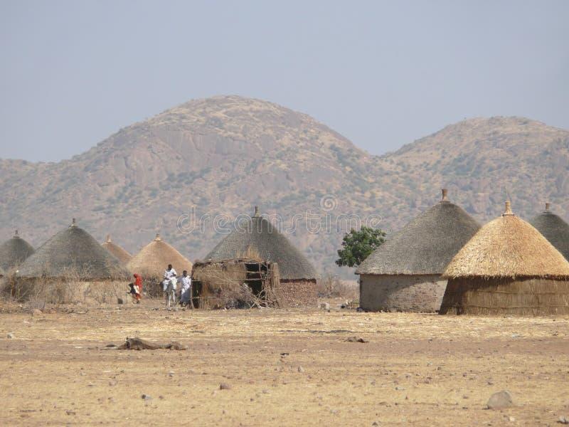 Village dans le sud du Soudan. image stock