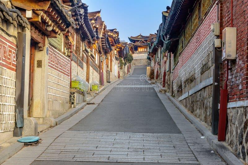 Village de Bukchon Hanok, architecture coréenne traditionnelle de style dans S images libres de droits