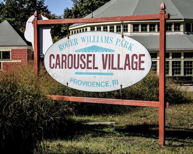 Village de carrousel chez Roger Williams Park historique, Providence, RI images libres de droits