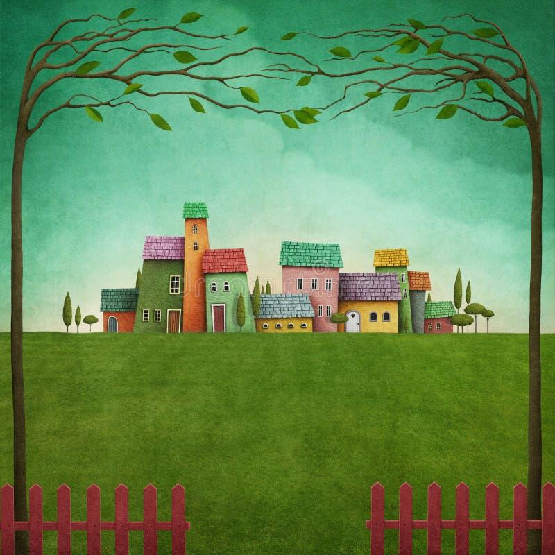 Village de couleur illustration libre de droits