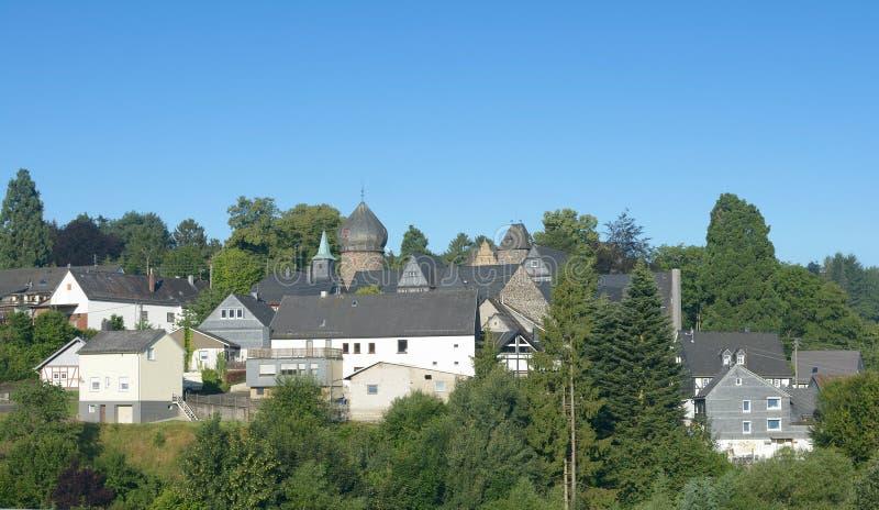 Village de Friedewald, région de Westerwald, Allemagne photos stock