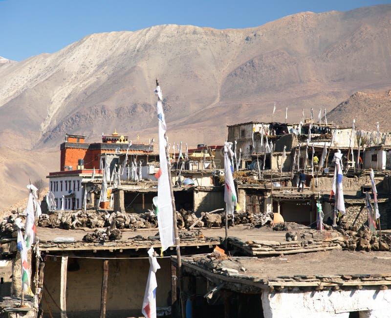 Village de Jharkot, traînée ronde de trekking de circuit d'Annapurna photographie stock libre de droits