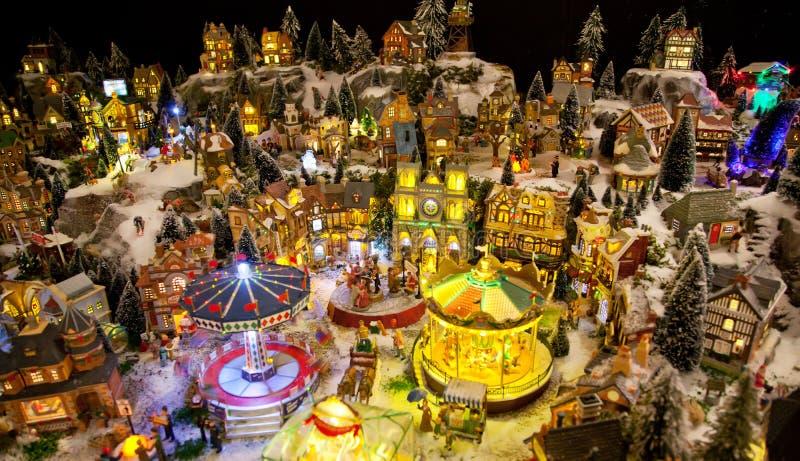 Village de jouet de l'hiver photos libres de droits