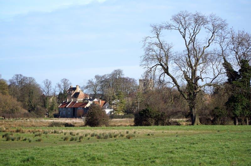 Village de marais Ditton, Cambridgeshire, Angleterre photographie stock libre de droits