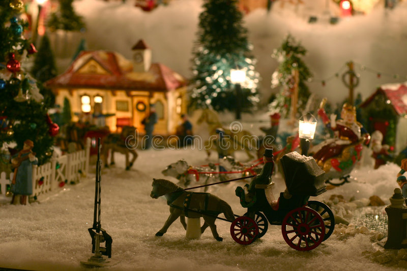 Village de miniature de Noël images libres de droits