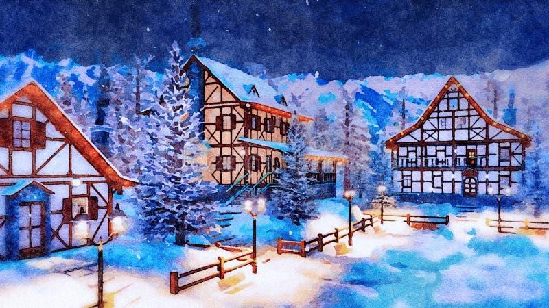 Village de montagne alpin à l'aquarelle de nuit d'hiver images stock