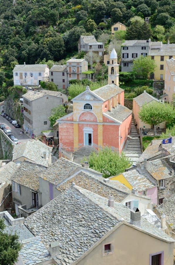Village de montagne corse Nonza image libre de droits