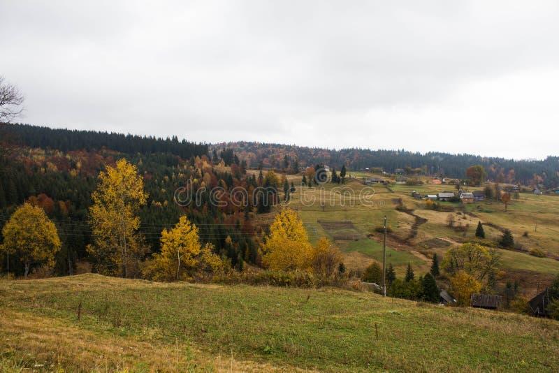Village de montagne dans les Carpathiens image libre de droits