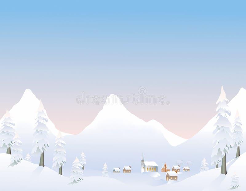 Village de montagne de l'hiver illustration libre de droits