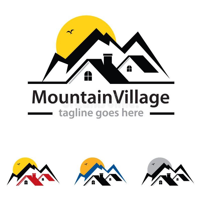 Village de montagne Logo Template Design Vector illustration stock
