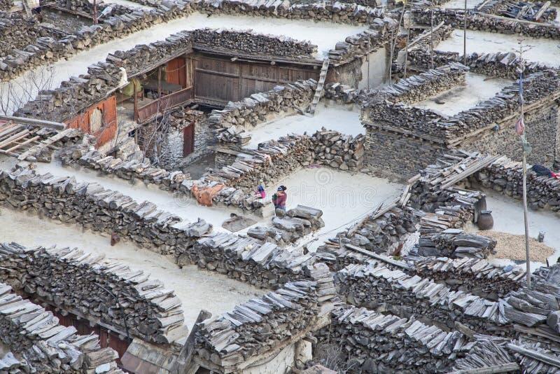 Village de montagne Marpha en Himalaya, Népal. photos libres de droits