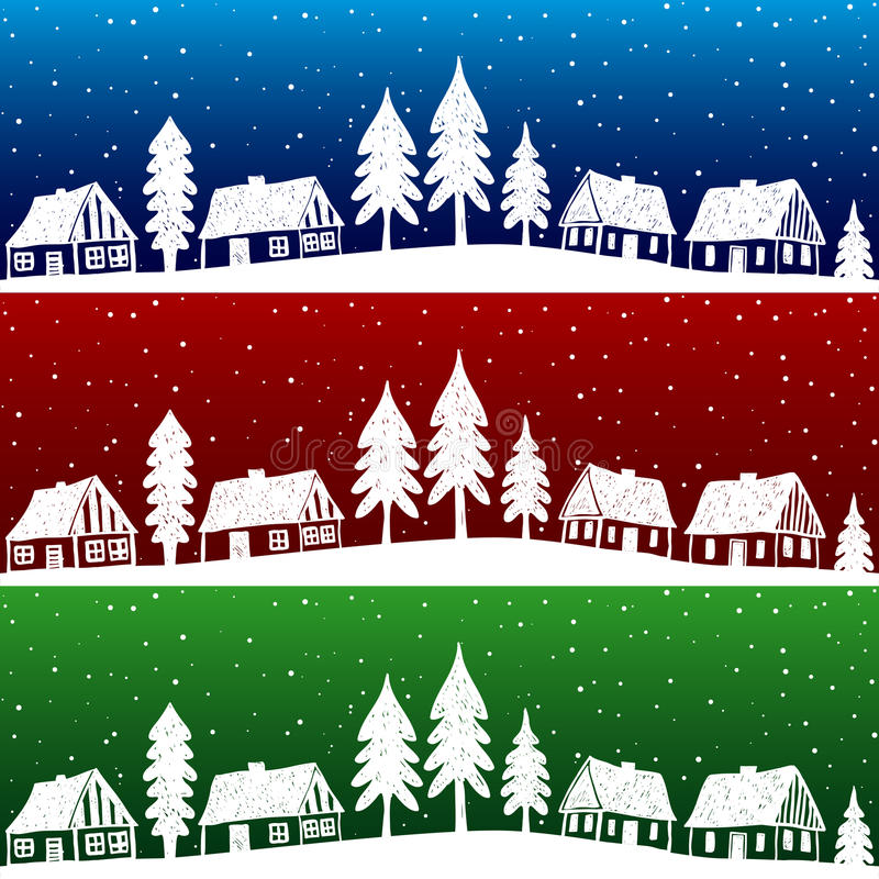 Village de Noël avec la configuration sans joint de neige illustration libre de droits