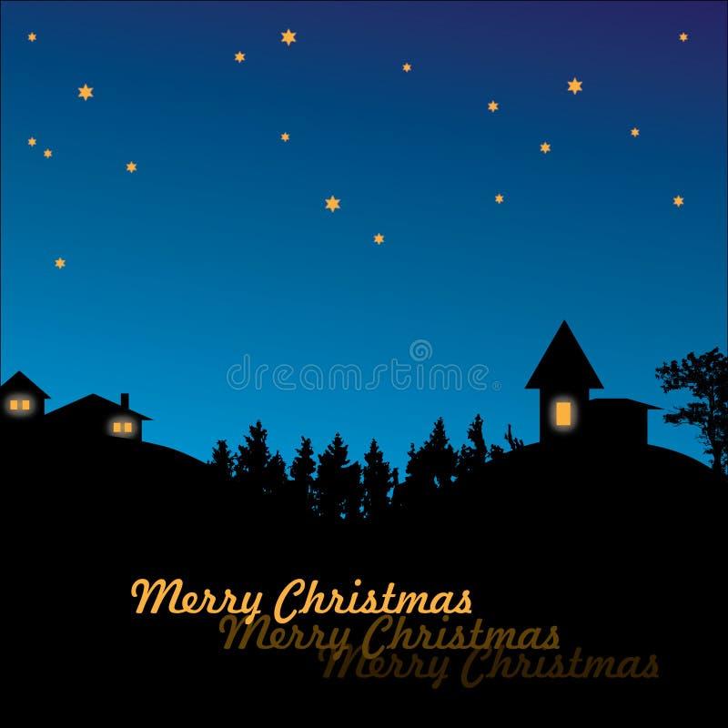 Village de Noël dans la nuit illustration de vecteur
