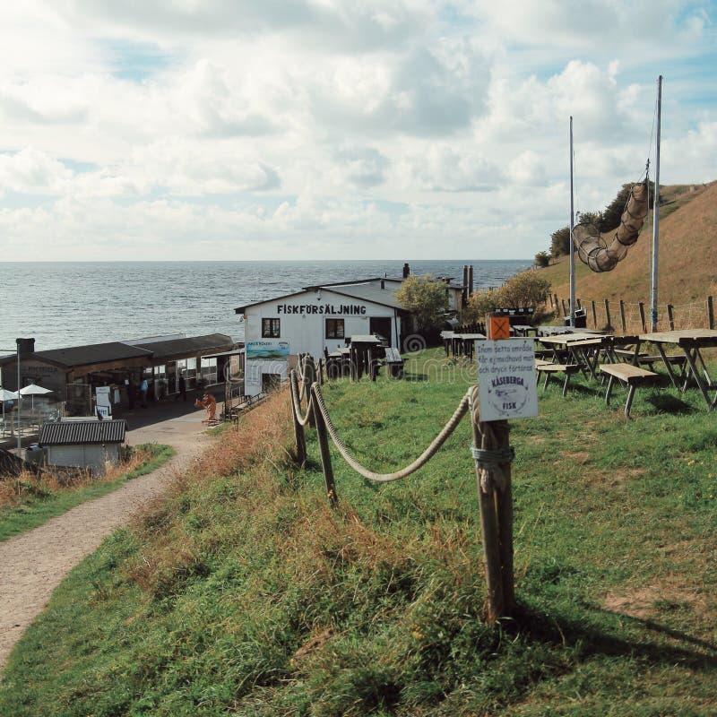 Village de pêcheur dans les sud de la Suède images libres de droits