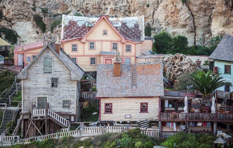 Village de Popeye à Malte photos libres de droits