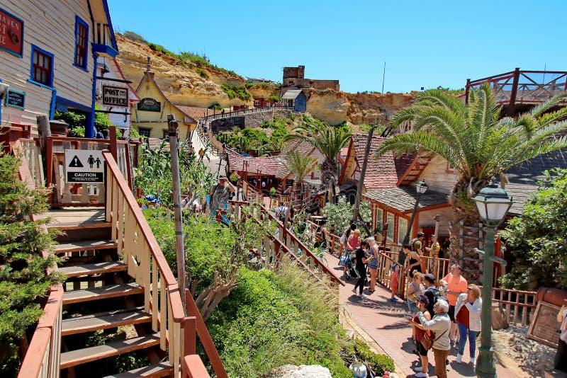 Village de Popeye ? Malte image stock