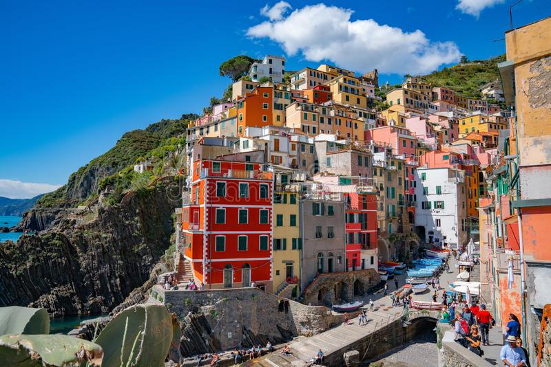 Village de Riomaggiore, La Spezia, Ligurie, Cinque Terre Coast de l'Italie du nord photographie stock