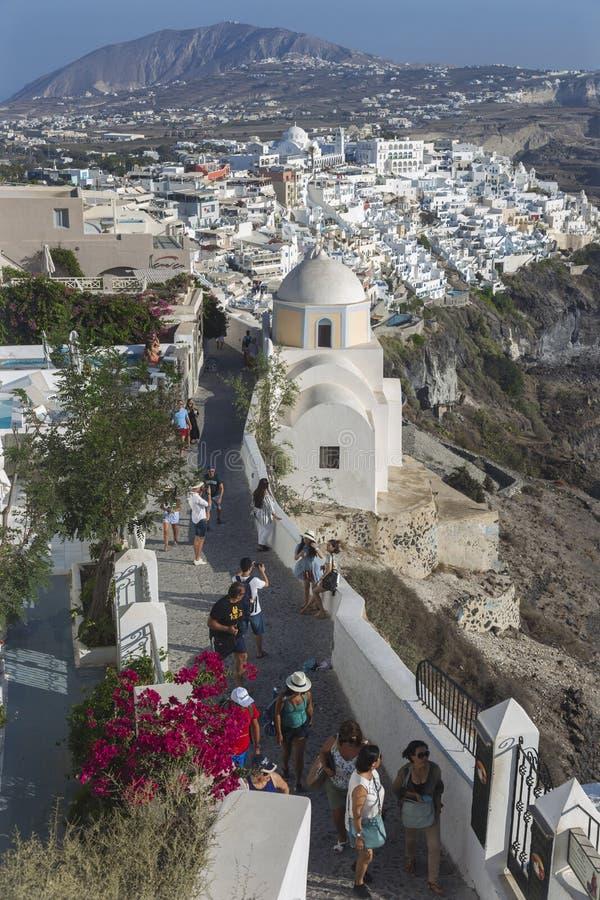 Village de Santorini Fira, Cyclades, mer ?g?e, ?le grecque, Gr?ce photographie stock libre de droits