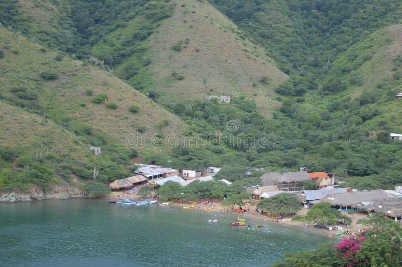 Village de Taganga, Santa Marta, Colombie images libres de droits