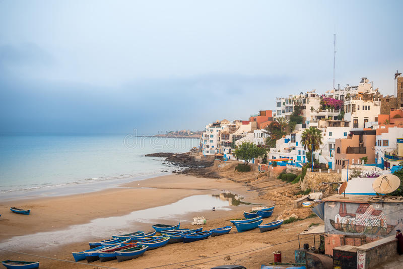 Village de Taghazout, Maroc photos stock