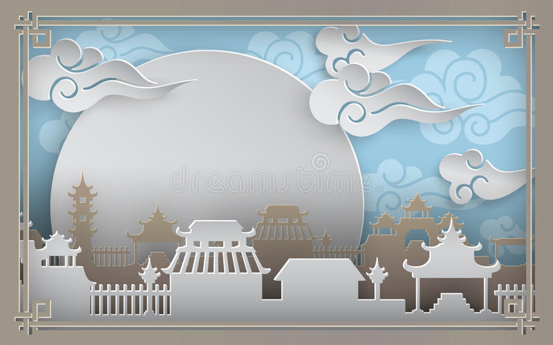 Village de ville de la Chine sur le fond bleu avec le ciel, le soleil, nuages Cadre oriental de modèle de vintage pendant la bann illustration libre de droits