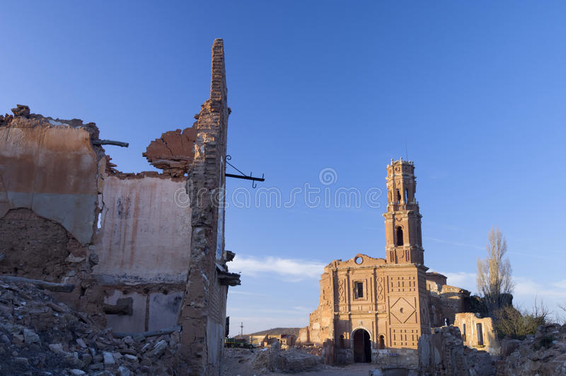 Village demolished Belchite royalty free stock images