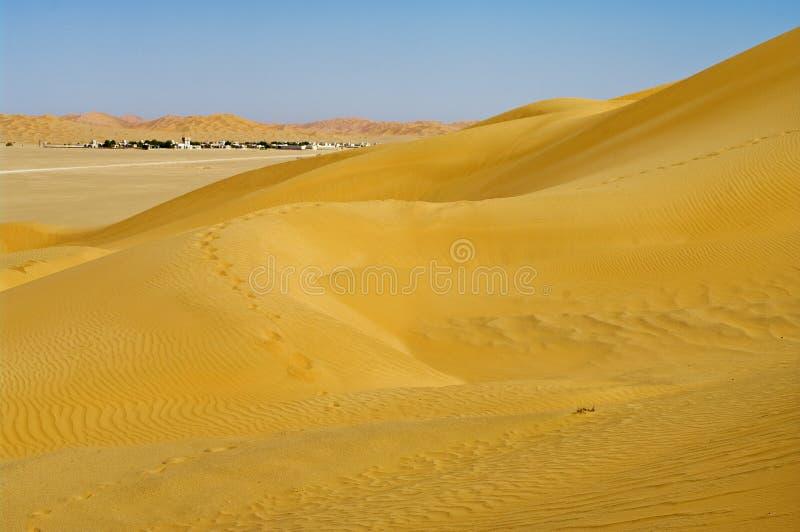 Village in the desert stock images