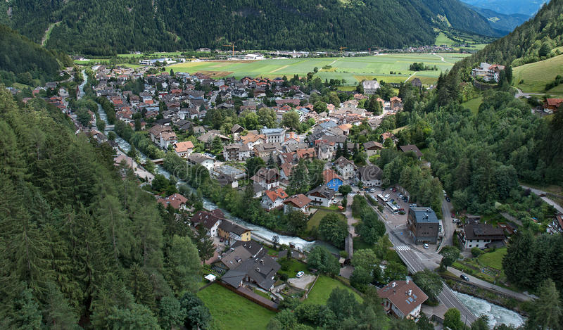 Village in the Dolomite Alps royalty free stock photography