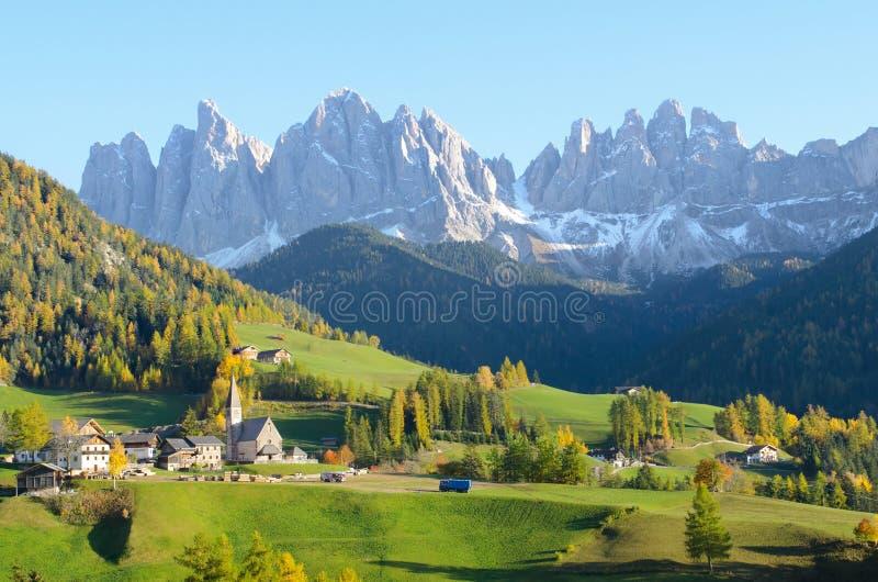 Village with Dolomites background royalty free stock image