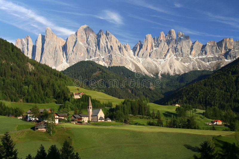 Village in the Dolomites, Italy royalty free stock image