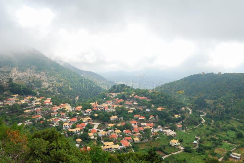 Village of Eglouvi in the mountains of greek island stock image