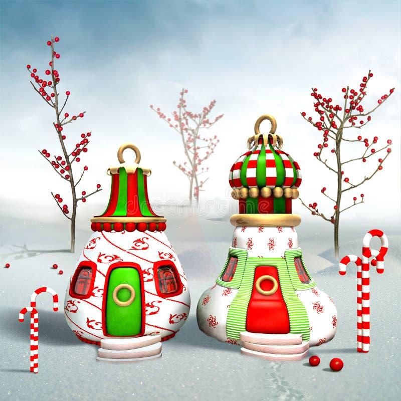 Village of Elfs. Village of Santas�s Elfs. Christmas card royalty free illustration