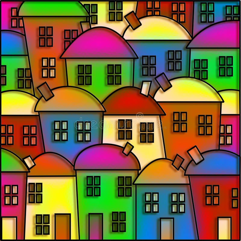 Village en verre souillé illustration libre de droits
