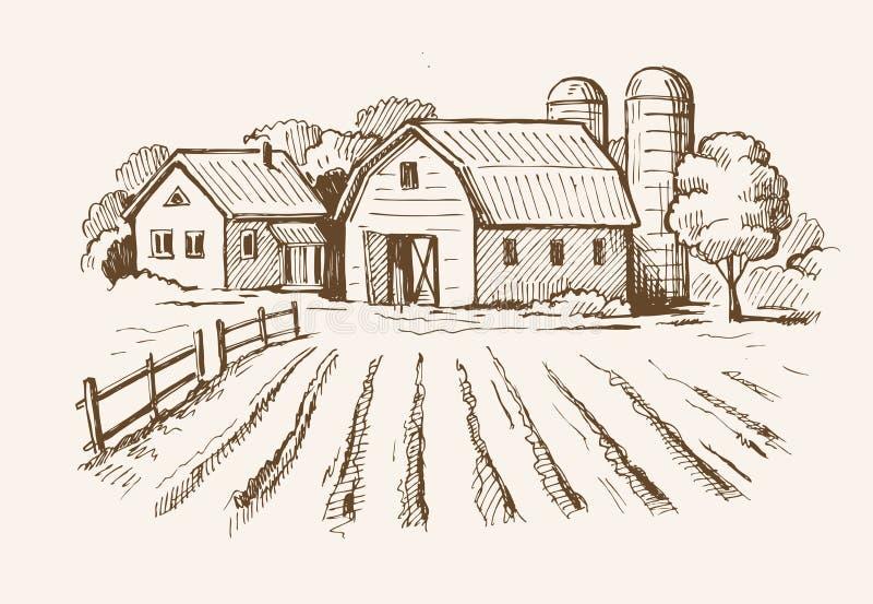 Village et ferme de paysage illustration libre de droits