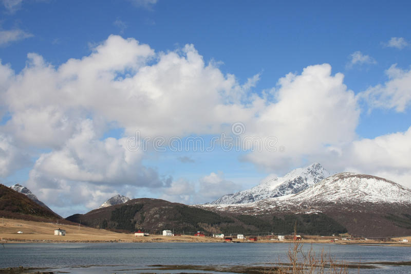Village in the fjord of Napp stock images