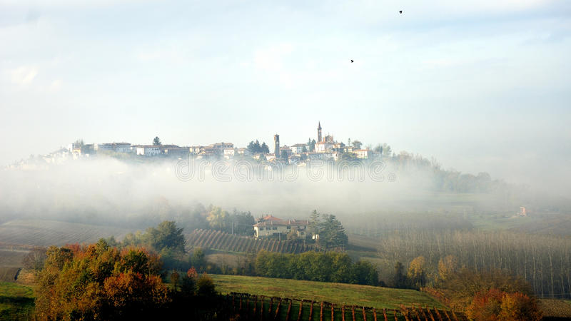 Village In The Fog Royalty Free Stock Photo