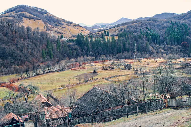 Village in the foothills. Landscape, panoramic view stock photography