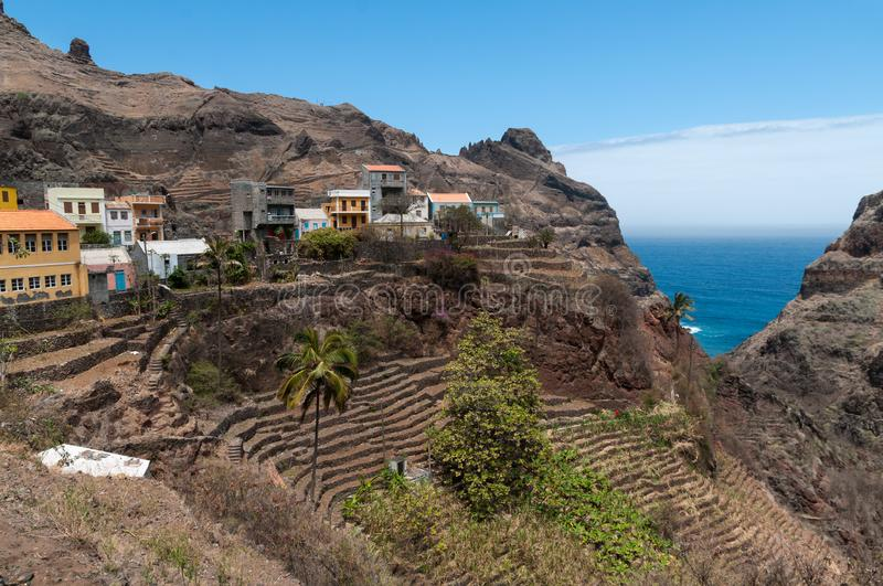 Village and terraces of Fountainhas, Santo Antao Island, Cape Verde royalty free stock image