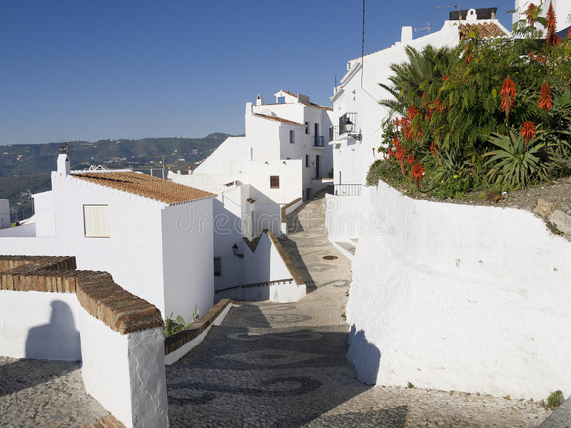 Village of Frigiliana Spain. Frigiliana one of the most beautiful 'white' villages of the Southern Spain area of Andalucia in the Alpujarra mountains stock photos