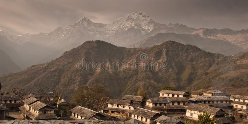 The village of Gandryuk.Traditional Nepalese house, trekking to royalty free stock images
