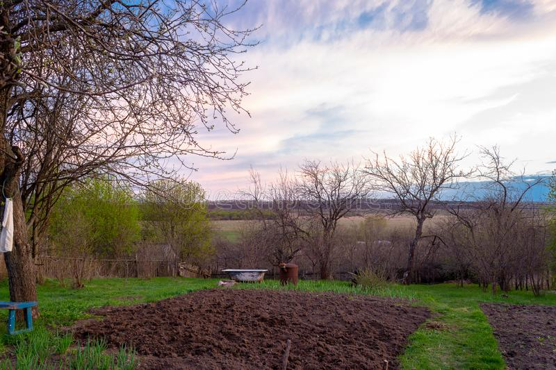 Village garden in Russia. Plowed land, ready for planting vegetables. Pink sunset sky. Village garden in Russia. Pink sunset sky. Plowed land, ready for stock photos