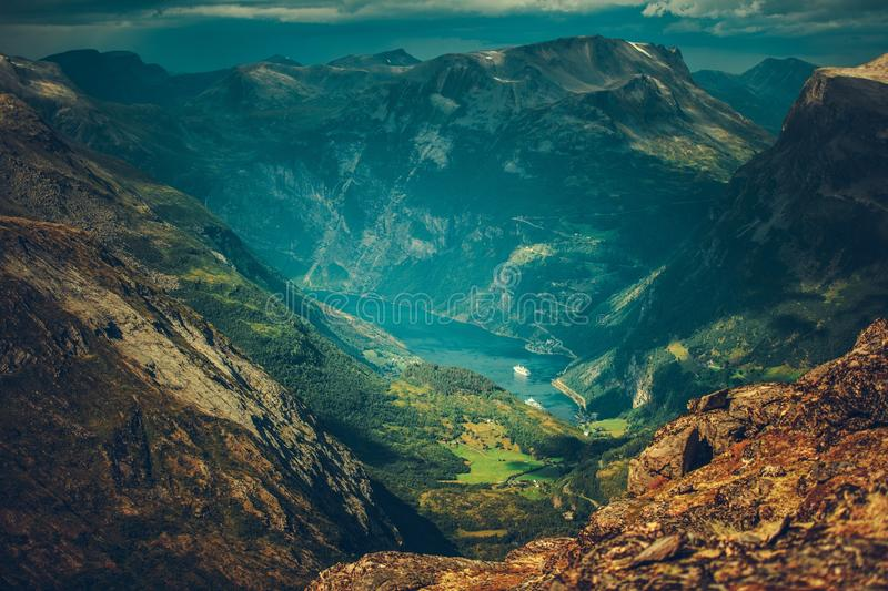 Village of Geiranger Norway. And the Geirangerfjord Panorama From the High Mountain Peak stock photography