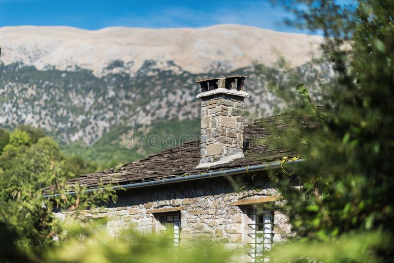 Village in Gorge of Vikos in Greece. Zagoria region. National park of Pindus mountain. Greece. stock images