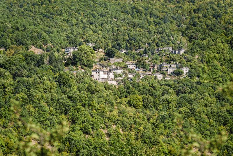 Village in Gorge of Vikos in Greece. Zagoria region. National park of Pindus mountain. Greece. stock photography