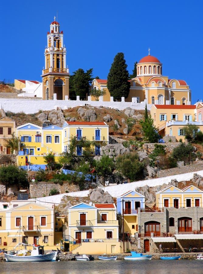 Village grec coloré d'île photos libres de droits