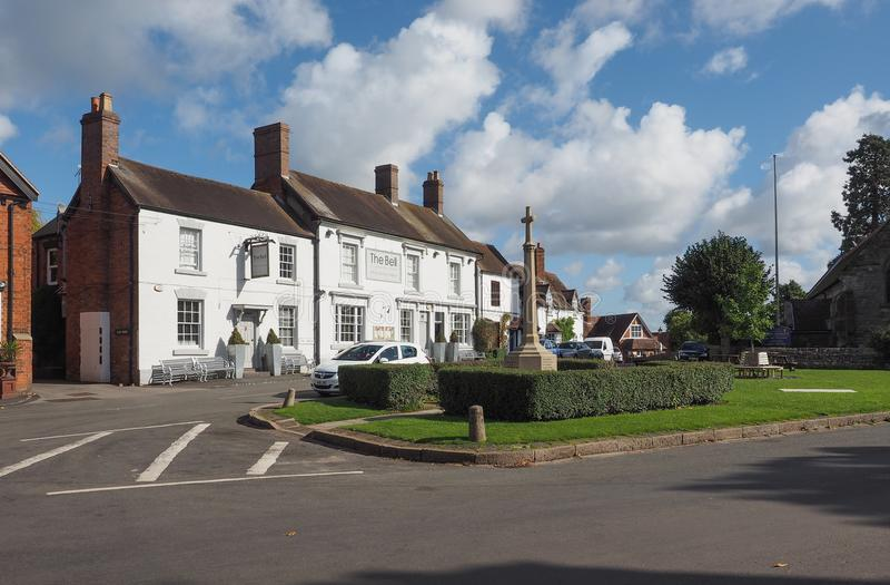 Village Green i Tanworth i Arden royaltyfria bilder
