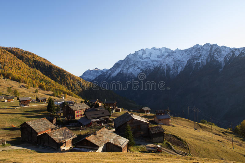 Village of Gspon in Autumn Colours stock photo