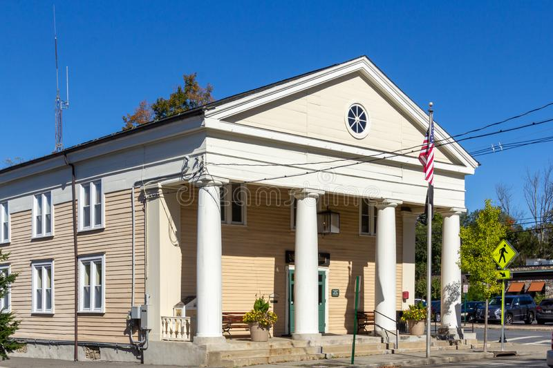 Warwick, NY / United States - Oct. 5, 2019: a landscape view of Village Hall on Main Street. The Village Hall is located on Main Street in the Village of Warwick stock photography